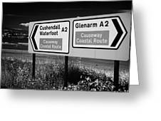 Signposts For The Causeway Coastal Route At Carnlough Between Cushendall And Glenarm County Antrim Greeting Card by Joe Fox