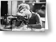 Silent Film Still: Sewing Greeting Card