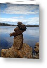 Silent Watch - Inukshuk On Boulder At Long Lake Hiking Trail Greeting Card