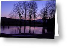 Silhouette At The Pond Greeting Card