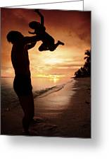 Silhouette Family Of Child Hold On Father Hand Greeting Card by Anek Suwannaphoom
