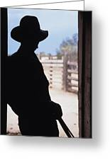 Silhouette Of A Cowboy In A Doorway Greeting Card