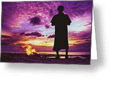 Silhouette Of A Local Man Standing By The Bonfire On The Beach In Maldives During Dramatic Sunset Greeting Card