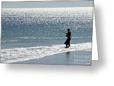Silhouette Of A Man Fishing Greeting Card