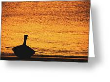 Silhouette Of A Thai Wooden Boat  On The Beach Against Golden Sunset Koh Lanta, Thailand Greeting Card