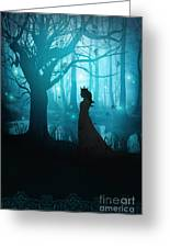 Silhouette Of A Womanin In A Forest At Twilight Greeting Card