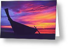 Silhouette Of A Wooden Thai Boat  On The Beach During Beautiful And Dramatic Sunset Greeting Card