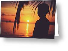 Silhouette Of A Young Boy Watching Beautiful Caribbean Sunset Greeting Card