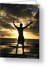Silhouette Of Fit Man Greeting Card