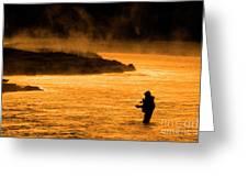 Silhouette Of Man Flyfishing Fishing In River Golden Sunlight Greeting Card