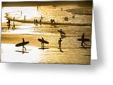 Silhouette Of Surfers At Sunset Greeting Card