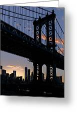 Silhouette Of The Manhattan Bridge Greeting Card by Dick Wood