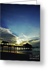 Silhouette Pier 60 Sunset Greeting Card