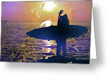 Silhouette Woman On Coast Holding Surfboard At Sunset Greeting Card