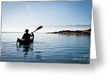 Silhouetted Morro Bay Kayaker Greeting Card by Bill Brennan - Printscapes