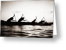Silhouetted Paddlers Greeting Card