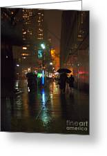 Silhouettes In The Rain - Umbrellas On 42nd Greeting Card