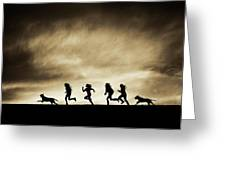 Silhouettes Of Running Girls And Dogs  Greeting Card