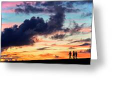 Silhouettes Of Three Girls Walking In The Sunset Greeting Card