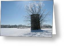 Silo In The Snow Greeting Card