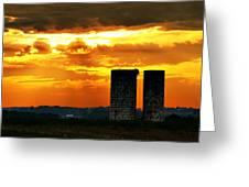 Silos At Sunset Greeting Card