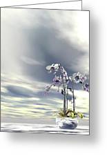 Silver And Gold Orchids Greeting Card
