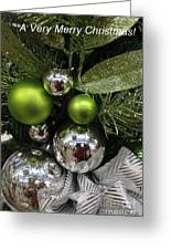 Silver And Green For Christmas Greeting Card