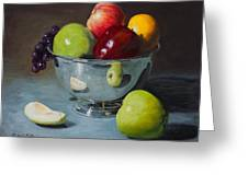 Silver Bowl Of Fruit Greeting Card