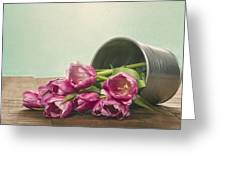 Silver Container With Fresh Tulips Greeting Card