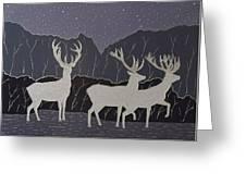 Silver Deers Greeting Card