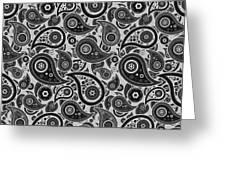 Silver Gray Paisley Design Greeting Card