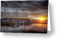 Silver Harbor Skies Greeting Card