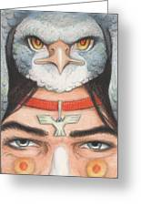 Silver Hawk Warrior Greeting Card