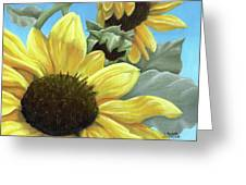 Silver Leaf Sunflower Growing To The Sun Greeting Card