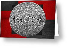 Silver Mayan-aztec Calendar On Black And Red Leather Greeting Card