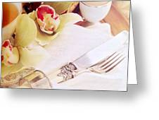 Silver Service Breakfast Setting Greeting Card