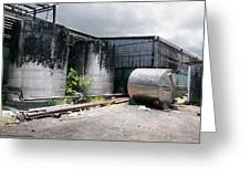 Silver Tanks In Factory Greeting Card