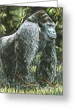 Silverback-king Of The Mountain Mist Greeting Card