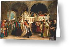 Simchat torah livorno 1850 painting by solomon alexander hart simchat torah livorno 1850 greeting card m4hsunfo