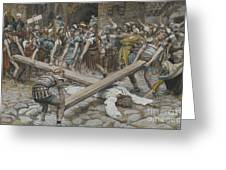 Simon The Cyrenian Compelled To Carry The Cross With Jesus Greeting Card