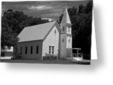 Simple Country Church - Bw Greeting Card