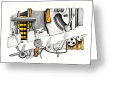 Simple Machines Drawing Three Greeting Card