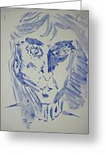 Simple Portrait In Blue.water Color 1999 Greeting Card