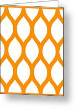 Simplified Latticework With Border In Tangerine Greeting Card