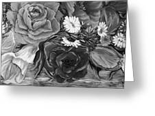 Simply Flowers 1 Black And White Greeting Card