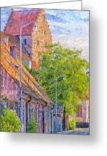 Simrishamn Street Scene Digital Painting Greeting Card
