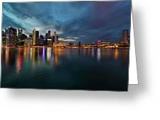 Singapore City Skyline At Evening Twilight Greeting Card