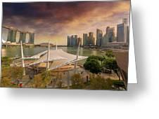 Singapore City Skyline By Marina Bay Sunset Greeting Card