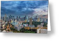 Singapore Cityscape At Sunset Greeting Card