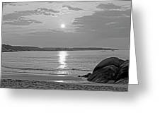 Singing Beach Rocky Sunrise Manchester By The Sea Ma Sand Black And White Greeting Card